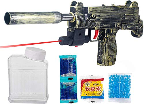 Mentific PUBG Theme Uzi Submachine 2 in 1 Gun Toys Set with Assault Rifle M416 with 4X Design Scope,1000+ Crystal Water and Soft Foam Bullets Role Play Game for Kids pubg Toys