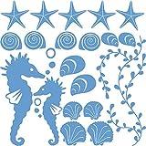 GRAZDesign Wandtattoo Badezimmer WC Unterwasser Welt - Wandtattoo Badezimmer Meer Muscheln Seesterne Set - Türaufkleber mit Zwei Seepferdchen - Wandtattoo / 57x57cm / lichtblau / 300168_57x57_WT056