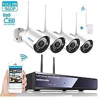 Kit de vidéo surveillance sans fi, SZSINOCAM Système Caméra de Surveillance 2.4G, Système Caméra de Sécurité avec NVR et 4 Caméras WIFI 960P, Etanchéité IP66, Vision Noturne, Installation Intérieur et Extérieur