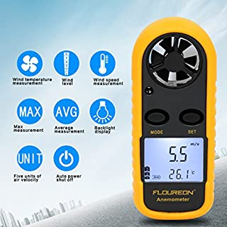 FLOUREON Digital Anemometer Handheld Wind Speed Meter with Backlit LCD Display & Battery, Measuring Wind Speed, Air Flow and Air Temperature Accurately for Sailing, Flying Drone, Flying Kites, Etc.