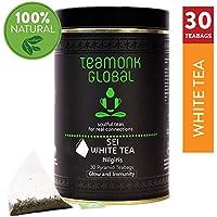 Teamonk Nilgiri White Tea, 50 g (25 tazas)   Té de hoja suelta 100% natural para brillo e inmunidad   Té blanco Sei con bajo contenido de cafeína y antioxidantes   Té de hoja entera   Sin aditivos