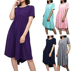 TPulling Damen Kurzarm Abendkleid ❤ Frau Mode Minikleid Sommer Kurzarm Halstasche Einfarbiges Taschen Standkleid Bodycon Beiläufige Abend Partykleid