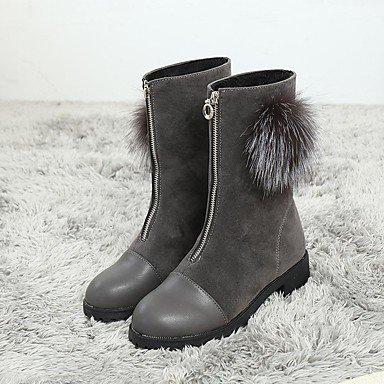 RTRY Scarpe Donna Floccaggio Nabuck Pelle Scamosciata Pu Inverno Comfort Moda Stivali Stivali Chunky Tallone Punta Tonda Mid-Calf Boots Zipper Pom-Pom Per US8.5 / EU39 / UK6.5 / CN40