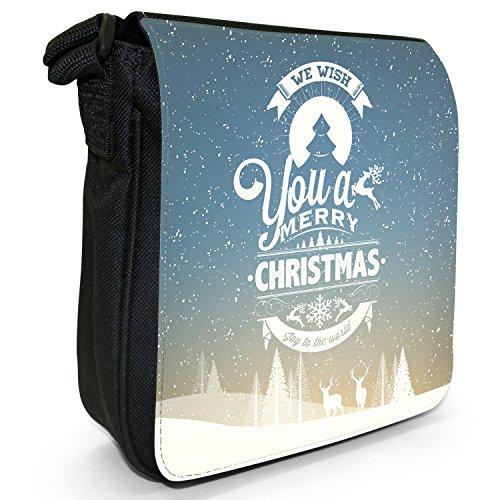 Neve Tipografia auguri di Natale piccolo nero Tela Borsa a tracolla, taglia S We Wish You A Merry Christmas