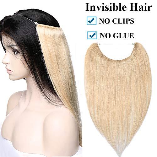 Extension capelli veri con filo invisibile biondo fascia unica 40cm 100% remy human hair no clip capelli lisci 60g 3/4 full head #24 biondo naturale