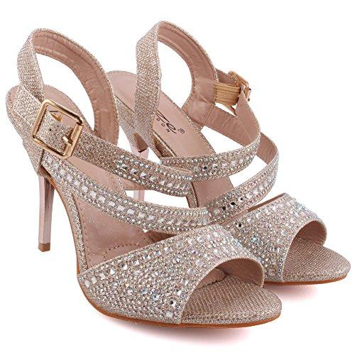 Unze Femmes 'Samie' Diamante Embellis Strappy Haut talon aiguille Soirée Soirée Carnaval Rejoindre Brunch Mariage Talon Sandales Court Chaussures Taille 3-8 Champaign