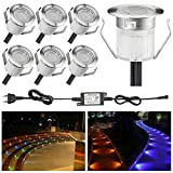 SUMAOTE 6 Stück LED Einbaustrahler LED Bodeneinbauleuchte IP67 Wasserdicht 0.6W Ø30mm LED Einbauleuchte Terrasse Küche Garten LED Lampe Warmweiß (RGB, 6er-Set)
