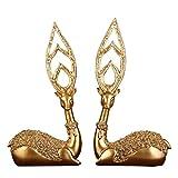 NYDZ Adornos de Oro elk, decoración del hogar artesanías de Resina mobiliario de Regalos de Boda de la Personalidad (2 Piezas) Aplicable