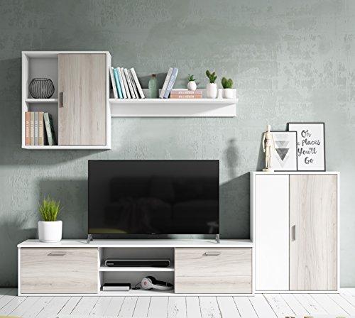 Abitti Mueble salón Comedor módulo bajo módulo Colgante y Armario Color Blanco y Shamal 180x220 cm