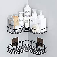IALUKU Bathroom Shower Shelf, Adhesive Metal Wall Mounted Storage Organized Rack for Shower Caddy,Triangle Basket No Drilling, Design for Bathroom Bedroom Living Room and Kitchen, Set of 2 Black