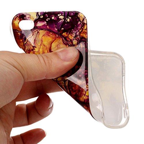Coque iPhone 4/4S XiaoXiMi Étui de Texture en Marbre Housse Souple de Protection Soft Slim Case Étui en TPU Gel Silicone Coque Flexible Lisse Etui Ultra Mince Poids Léger Housse Anti Rayure Anti Choc- Violet Jaune