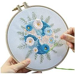 Kit de bordado de bricolaje para tejer con diseño de flores y pañuelos, marco de bordado de gama completa con kit de herramientas para regalos A