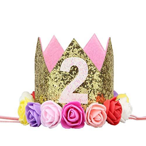 Timlatte Baby-Jungen-Geburtstags-Blumen-Partei-Kappen-Stirnband 1/2 1 2 3 Jahr Anzahl Newborn Geburtstags-Hut