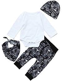 ALIKEEY Bebé Recién Nacido Solid Romper Tapas Prin Cap Baberos Ropa Pantalones Trajes De Halloween AlgodóN
