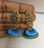 #6: Blue Silk thread Fashion Jhumki Earring with peacock stud