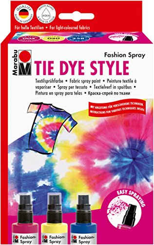 Marabu Creative Fashion Spray Set 4/Pkg-Tie Dye - Raspberry, Lemon & Marine Blue (Spray Tie Dye)