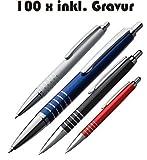 100 x Exklusiver Kugelschreiber aus Aluminium inkl. Gravur mit blau schreibender Mine (silber)
