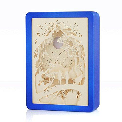 Leegoal Papier Geschnitzte Lampe, Scheren Licht Kisten mit kreativen 3D Schatten Lichtgemälde für Kinder und Erwachsene, Baby Nursery Kinder Schlafzimmer Wohnzimmer Nachtlicht, Valentinstag(Blau) - Schatten Schiff