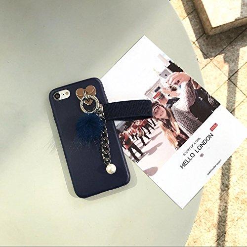 MXNET Fall für iPhone 6 u. 6s, lederner weicher schützender rückseitiger Abdeckungs-Fall mit Pelzkugel-Kettenanhänger ,Iphone 6/6s Case ( Color : Red ) Dark blue
