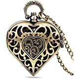 Infinite U Charming Hollow Heart Shape Small Quartz Pocket Watch Arabic Numerals Bronze