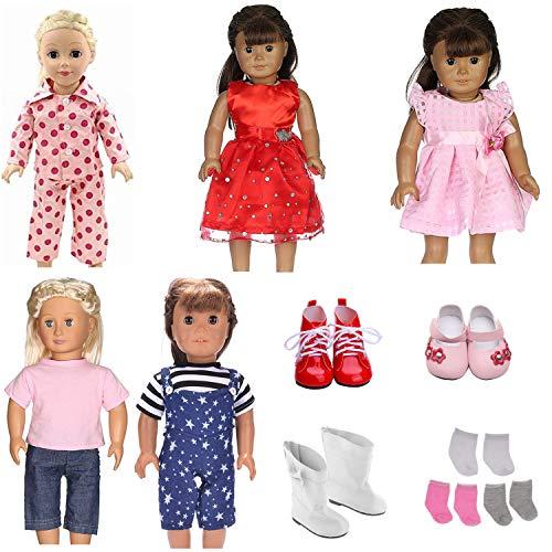 Veroda 11-teiliges Set (5 Outfits 3 Schuhe 3 Socken) Casual Party Schlafkleidung Kleidung Set für 45,7 cm American Girl Dolls Our Generation (Die American Doll Store)