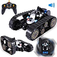 ANTAPRCIS RC Tanques Juguete 360 ° Flip Control Remoto Tanque con Luces LED y Música Negro