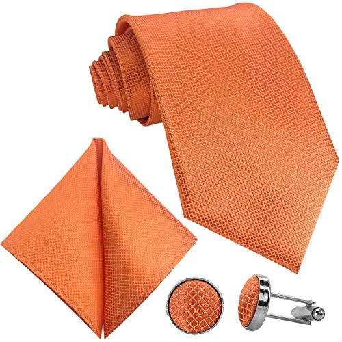 GASSANI 10cm Breite Herrenkrawatte Krawattenset Orangene Karo-Muster, Schmale Skinny Hochzeitskrawatte Herrenschlips Einstecktuch Manschettenknöpfe
