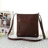 Tongshi 23*25cm Womens Pu Leather Satchel Cross Body Shoulder Messenger Bag Handbag (Coffee)