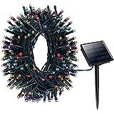 Litom Solar Luz de Hadas Exterior luz de navidad 100 LEDs Impermeable luz de decoracion con 8 modos de funciona para Jardin, casa ,Fiesta, Navidad decoracion,decoracion de exterior y Interior