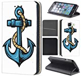 CoverFix Premium Hülle für Samsung Galaxy A5 (Modell 2017) A520 Flip Cover Schutzhülle Kunstleder Flip Case Motiv (1064 Anker Blau)