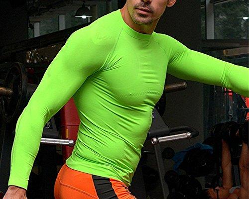 SaiDeng Uomo Sports Tights Lunghe Maniche Tops Compressione Quick Dry Fitness Camicia Verde