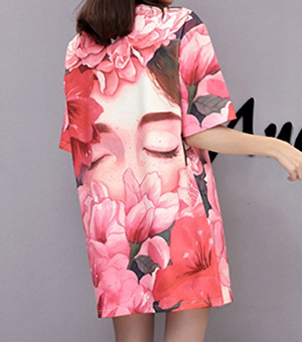 NiSeng Damen Mini kleid Cartoon Druck kurze Ärmel kleid Casual loose T-Shirt Kleid 590