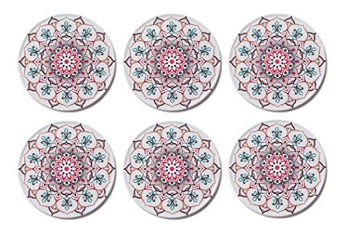 Palooza - Premium Design Mandala Glasuntersetzer (6er Set) - Dekorative Untersetzer für Glas, Tassen, Vasen, Kerzen zum Schutz von Esstisch und empfindlichen Oberflächen (rund | 9cm) (Marrakesch)
