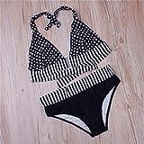 Womens Stripe Halter Neck Bikini Sets Push Up Padded Plus Size Swimsuit Bikini Sets Beach Swimwear (Color : Black, Size : XXXXL)