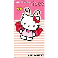Maravilloso Colorido contorneado Hello Kitty sobrina cumpleaños tarjeta de felicitación
