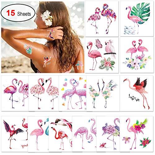 Konsait 15 Blätter Flamingo Temporäre Tattoos Tätowierung Wasserdicht für Frauen Mädchen Erwachsene, Hawaii Themen Fake Tattoos für Kinder, Tropische Strand Schwimmbad Party Dekoration
