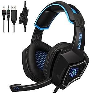SADES PC verkabelt 3,5 mm Stereo Gaming Headset LED Beleuchtung Over-Ear-Kopfhörer mit Mikrofon für Computer-Gamer