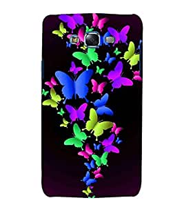 For Samsung Galaxy J5 (2015 Old Model) :: Samsung Galaxy J5 Duos :: Samsung Galaxy J5 J500F :: Samsung Galaxy J5 J500FN J500G J500Y J500M colored butterfly, butterfly, black background Designer Printed High Quality Smooth Matte Protective Mobile Pouch Back Case Cover by BUZZWORLD