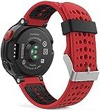 Garmin Forerunner 235 Watch Band, MoKo Soft Silicone Replacement Watch Band for Garmin Forerunner 235 / 220 / 230 / 620 / 630 / 735 Smart Watch - Red & Black