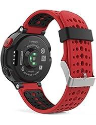 Garmin Forerunner 235 Samartwatch bracelet, MoKo watch band flexible en silicone avec des outils pour Forerunner 235/220/230/620/630/735 Montre de Running GPS avec Cardio au Poignet, Rouge
