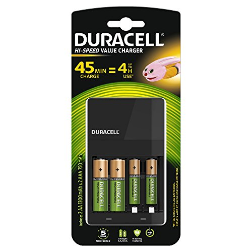 Duracell Battery Charger – Includes 2 x AA and 2 AAA Batteries, Charging Time 4 Hours