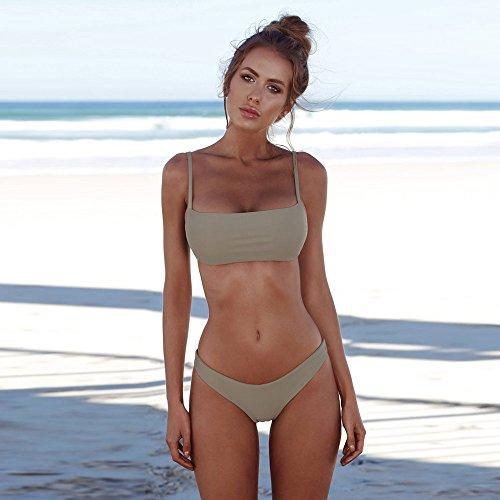 Dorical Bikini Set Damen, Frauen Bademoden Frauen Push-up Gepolsterten BH Beach Women Badeanzug Push Up Gepolstert Bustier Zweiteilig Sommer Sportliches Bademode Strand Promo(Hellgrün,X-Large)