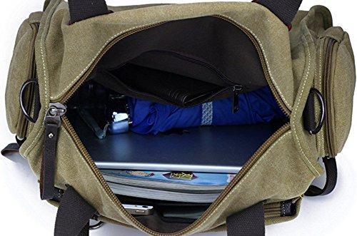 YAGGLE Unisex Schultertasche Vintage Umhängetaschen Segeltuch Outdoor Reisetasche Lässig Handtasche 36x15x30 CM schwarz kaffee