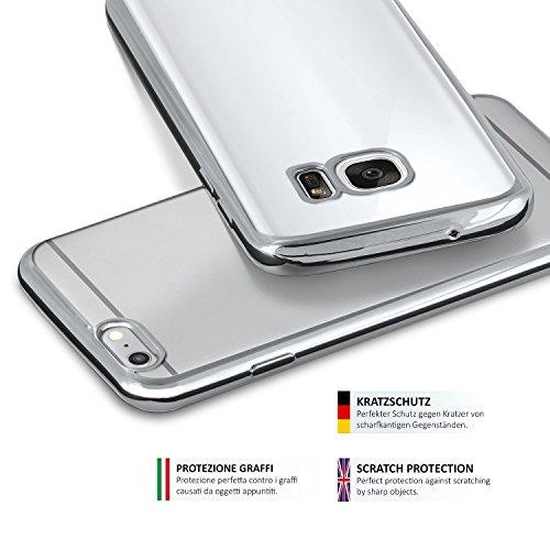 iPhone 6S Hülle Silikon Transparent Gold [OneFlow Chrom Back-Cover] Silikonhülle Dünn Schutzhülle Handyhülle für iPhone 6/6S Case Ultra-Slim Tasche TPU PLATIN-SILVER