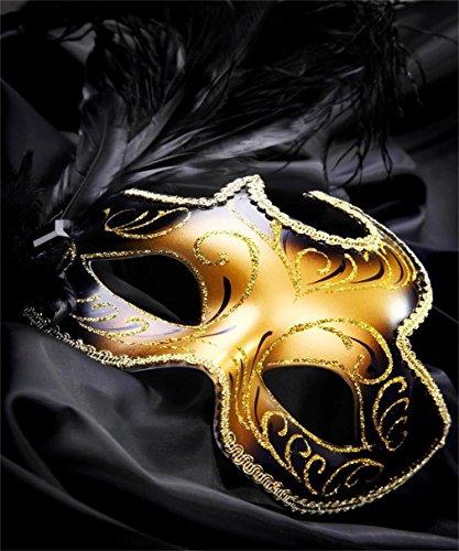 Schwarz Hintergrund gold Maske Karneval schwarz Federn Kinder Foto Studio porps 5x (Halloween Masken Benutzerdefinierte)