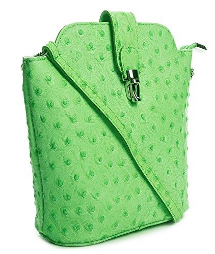 Big Handbag Shop kleine Damen Cross-Body-Tasche aus echtem Leder, imitiertes Straußenleder (V122 Light Green) (Straußenleder-tasche)