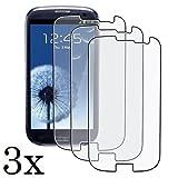 3x Displayschutzfolie für Samsung Galaxy S3 GT-i9300 / GT-i9305 LTE - Folie Kristallklar in bester Qualität inkl. 3x Mikrofasertuch von Saxonia