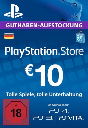 PSN Card-Aufstockung | 10 EUR | PS4, PS3, PS Vita Playstation Network Download Code - deutsches Konto