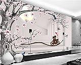 Malilove Arbre Orchidée De Jade Romantique Canapé Tv 3D Fond Papier Peint Papier...