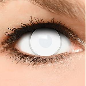 FUNZERA Farbige Kontaktlinsen Dead Zombie, in komplett weiß 60% Sehvermögen, inklusive Kontaktlinsenbehälter
